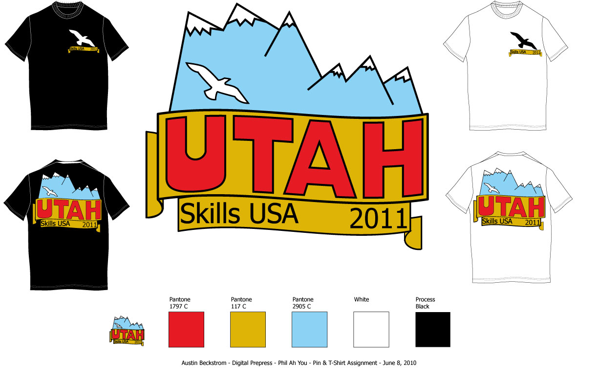 Shirt design utah - We Had To Design A Logo That Would Look Good On A T Shirt Or Pin Using No More Than Five Colors Here Is What I Came Up With