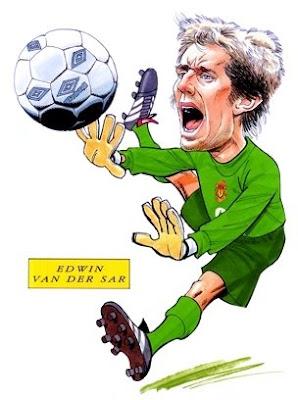 edwin van der sar goalkeeping record manchester united caricature