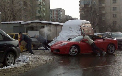 romania winter, ferrari, dacia,