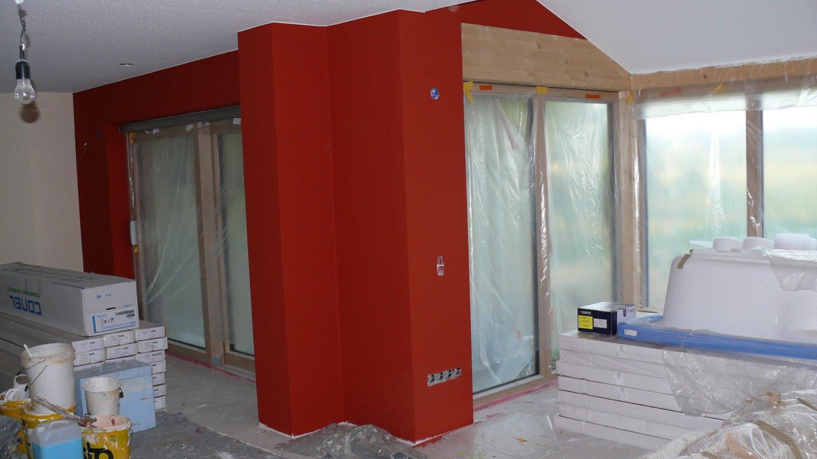 Wolfbau unsere rote wohnzimmerwand ist fertig - Rote wohnzimmerwand ...