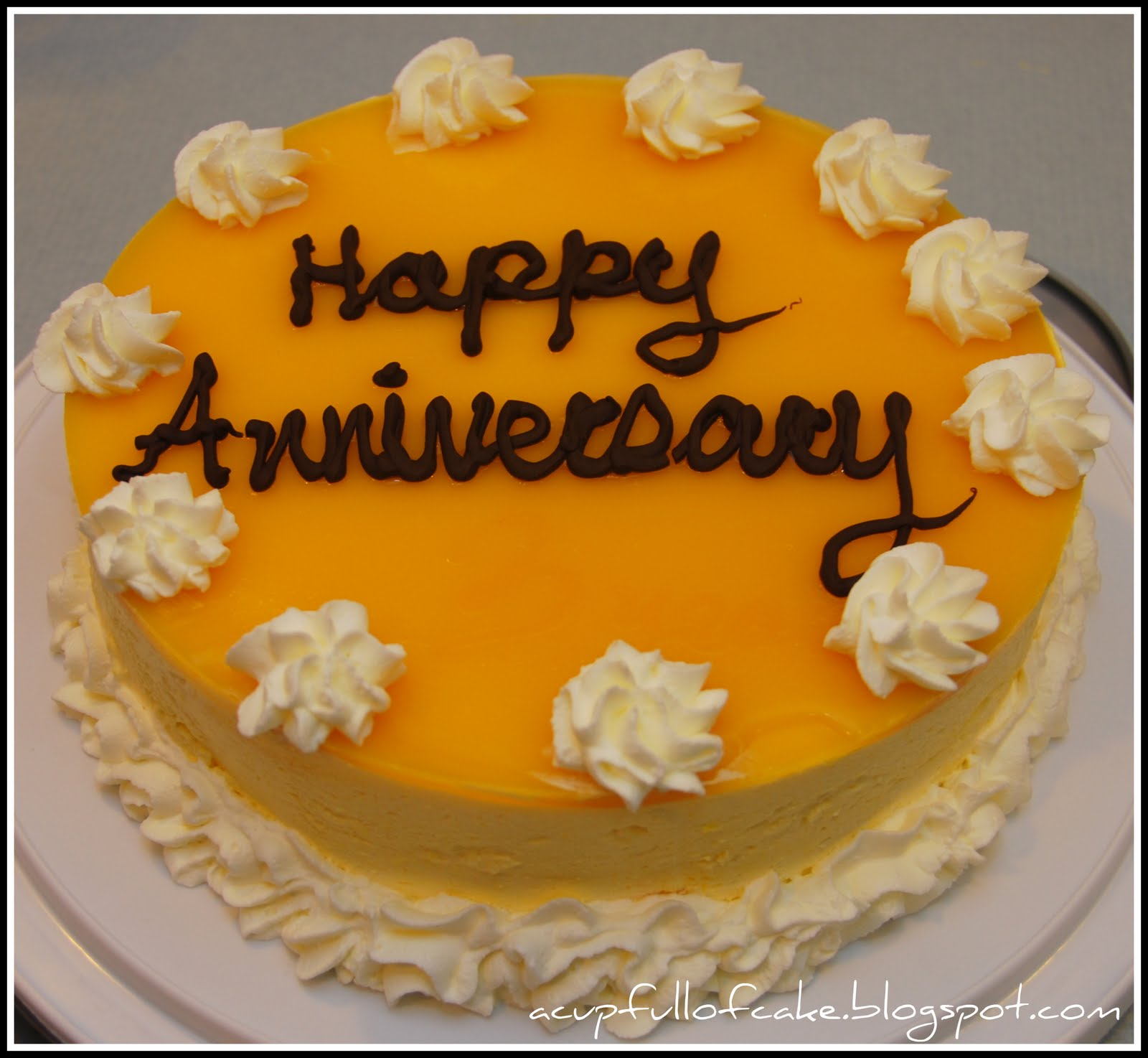 Cake Pics For Marriage Anniversary : A Cup Full of Cake: Mango Mousse Anniversary Cake