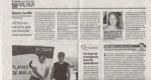 Mi salida en el periodico, el 20 minutos, (1 de julio del 2008).