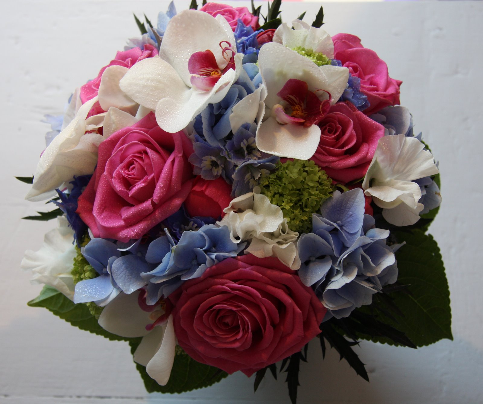The Flower Magician Hot Pink Royal Blue Wedding Bouquet