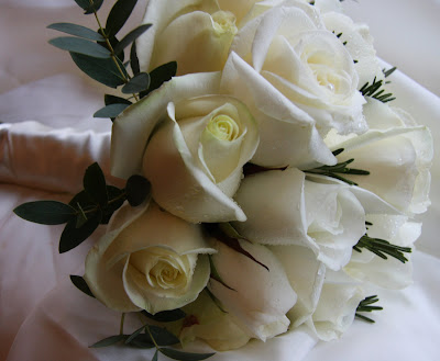 Pure Simplicity White Rose Wedding Bouquet