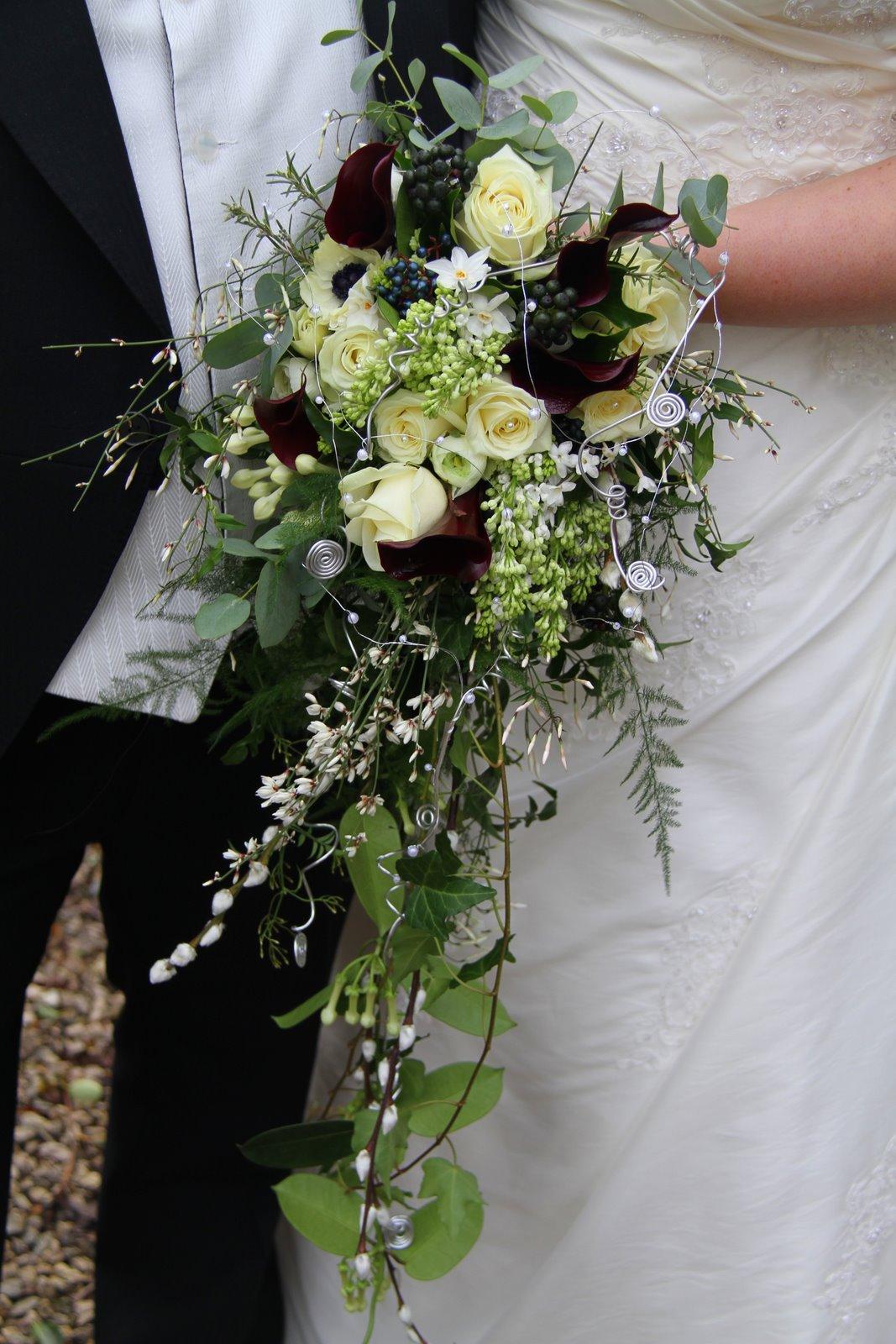The Flower Magician Black Amp White Cascade Wedding Bouquet
