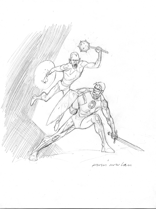 this was drawn in 2004 for the upper deck vs series of collectible cards