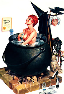 Nude woman taking a bath in a cauldron after having removed her witch costume