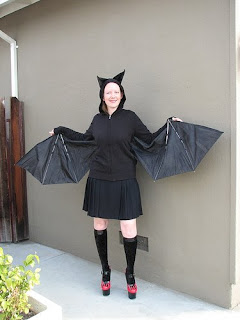woman dressed up in a homemade bat costume