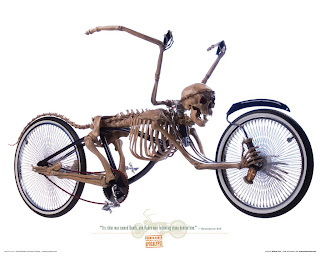 A lowrider bicycle created using a human skeleton