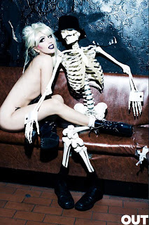 Lady Gaga hanging out nude with a skeleton