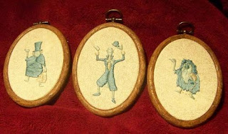 Custom embroidered portraits of the hitchhiking ghosts from Disney's Haunted Mansion attraction