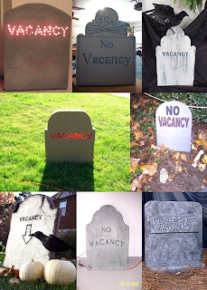 a collage of eight different Vacancy headstones