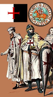 رسم يظهر فرسان المعبد بملابسهم وعلمهم وشعارهم في الأعلى