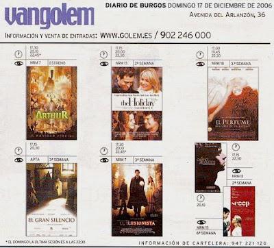 Extracto de la página de Cartelera de Diario de Burgos de 17/12/06