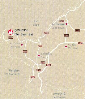 Phu Suan Sai Map, Loei Province at thailand-mountains.blogspot.com