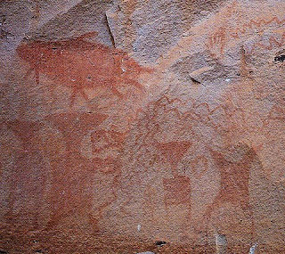 Historical wall painting on the cliff at Pha Taem