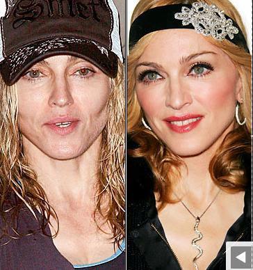 image Madonna sans maquillage avec maquillage