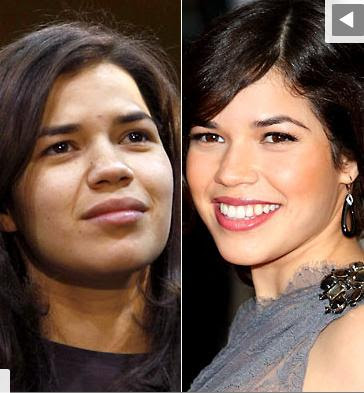 photo America Ferrera sans et avec maquillage