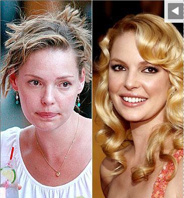 Katherine Heigl sans et avec maquillage