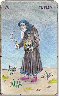 XI The Old Man from 'The Pythagorean Tarot' by John Opsopaus; with permission from Omphalos.org