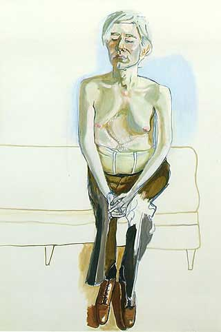 Warhol was al niet zo trots op zijn lichaam, maar al helemaal niet nadat hij door een ex-medewerkster was neergeschoten. Neel kreeg hem toch zover dat hij met korset en ontbloot bovenlijf poseerde. Andy Warhol is tientallen keren geportretteerd, maar vond dit met afstand het beste portret.