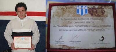 Martín Chavarría - Goleador Liga Deportiva Confluencia Apertura '09