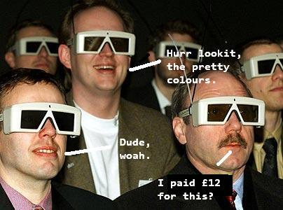 daggy guys looking at 3D movie