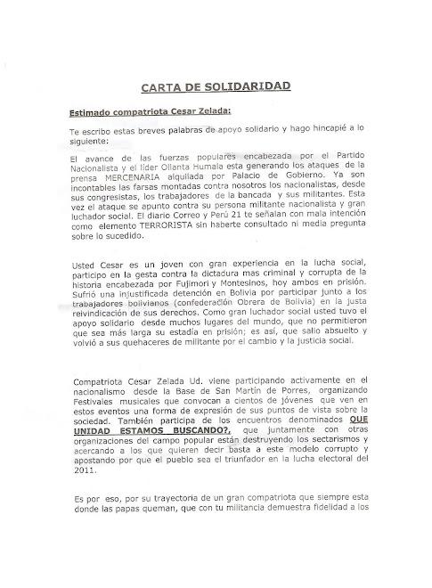 CARTA DE SOLIDARIDAD DE ELSA MALPARTIDA