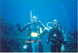Enio e Moreno Cavallarin 1998 in immersione al Morsetta