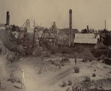 Mysore Mine, Kolar Gold Fields looking North West circa 1890.From left: Plummer's, Taylor's, Rowse