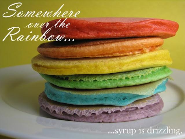 make happy: rainbow pancakes
