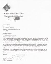 Lettera  indirizzata al produttore cinematografico italiano Francesco Gagliardi