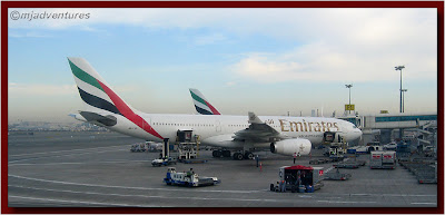Dubai airport with Emirates plane