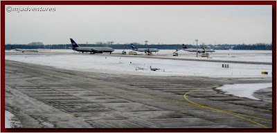Planes lined up to take off in the snow at Munich