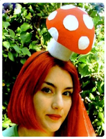 red and white felted mushroom hat