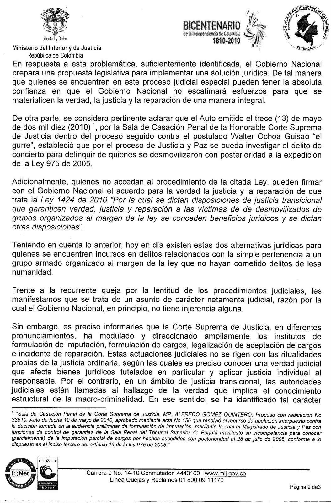 Respuesta a comunicaci n enviada al se or presidente de la for Ministerio del interior y de justicia