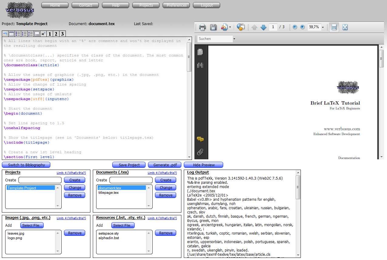 Online LaTeX Editor: Browser Based LaTeX Editor