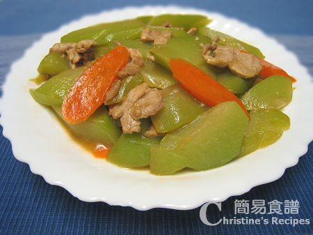 合掌瓜炒肉片 Stir-Fried Chayote with Pork Fillet