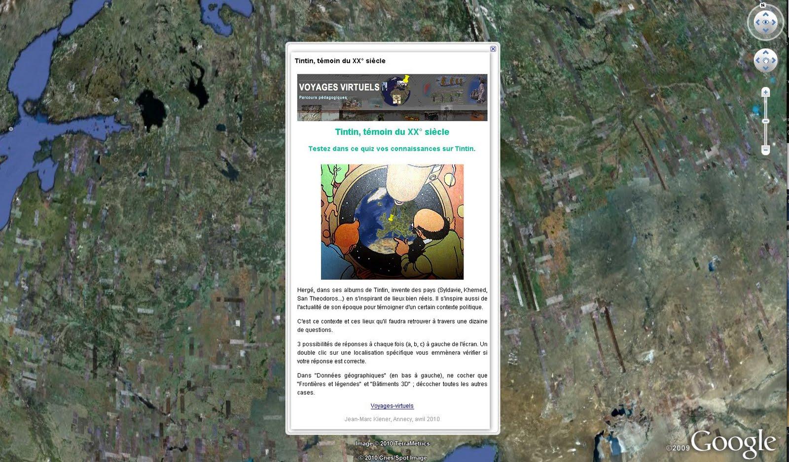 Los viajes de Tintín en Google Earth. Clicar para acceder al fichero KMZ