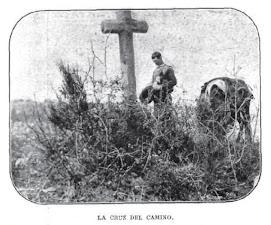 Arriero de las Arribes orando ante una cruz (La Ribera, 1906)
