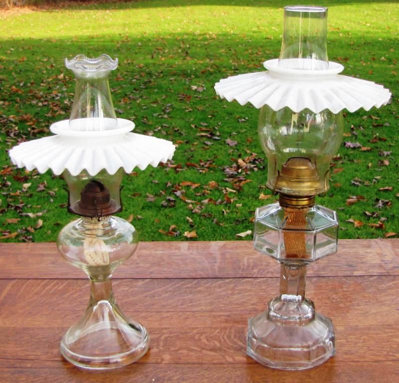 For old times sake victorian glass oil lamps orig chimneys fluted s580 aloadofball Gallery