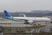 Die indonesische Delegation kam mit dieser schönen Garuda A330 mit neuer . (mg garuda indonesia new cs pk gpe )