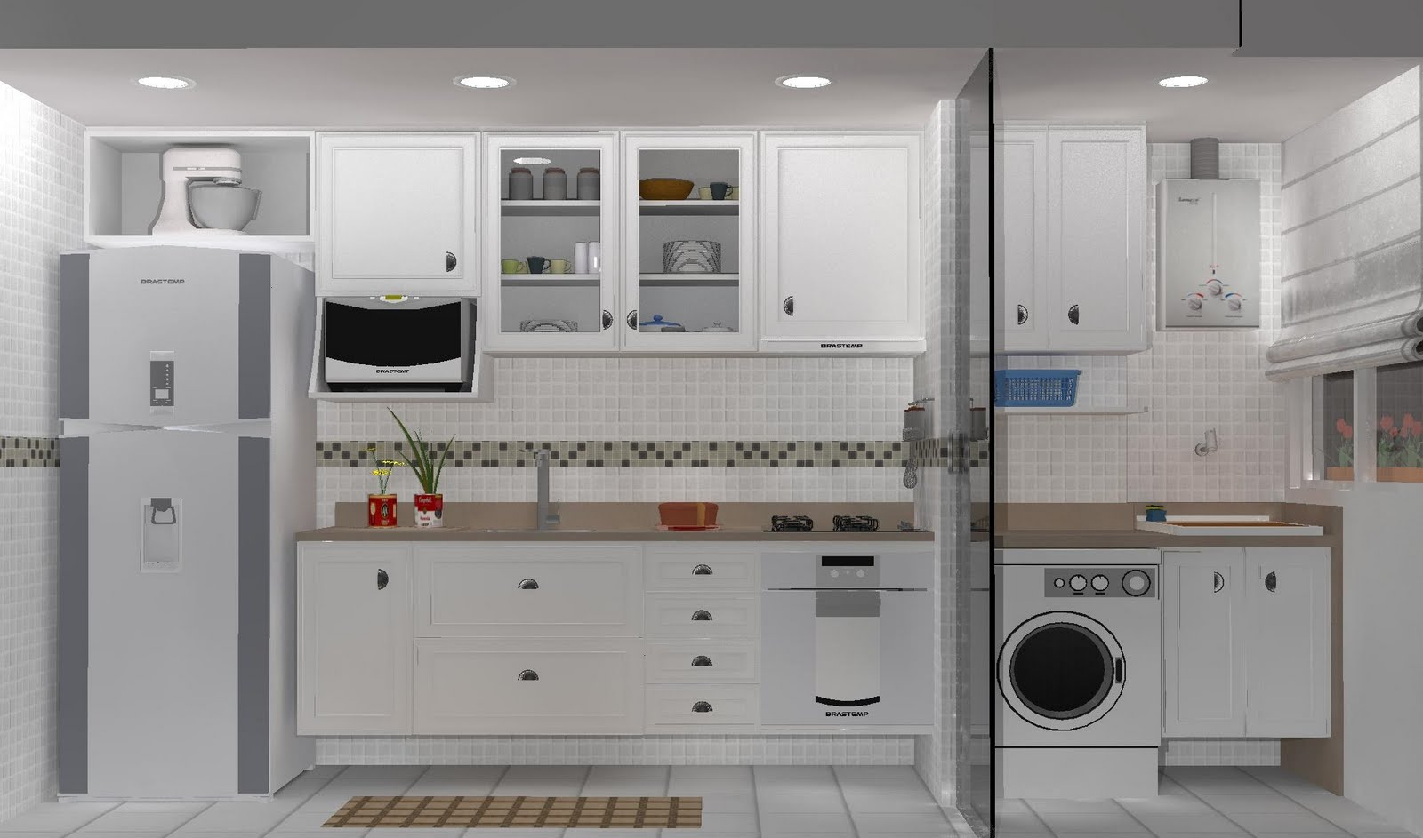 #384F6A APM INTERIORES: Projetos 1600x943 px Projeto Cozinha E Lavanderia_4171 Imagens