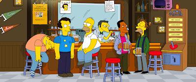 Lord Henry junto a Homero y los muchachos en la taberna de Moe