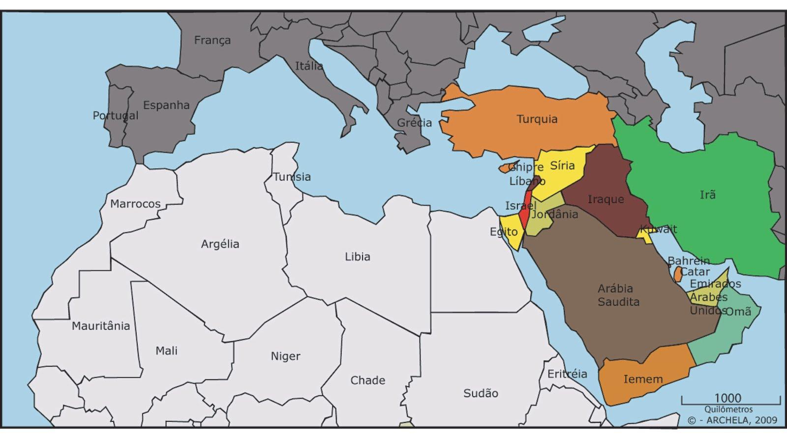 Mapa dos países em que José Roberto trabalhou. Além dos integrantes do Oriente Médio, também teve passagem no continente africano.