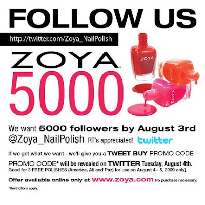 Zoya5000 web Follow Zoya on Twitter, Get Free Nail Polish!