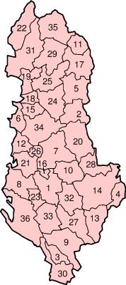 I 36 distretti dell`Albania Argirocastro , Berat , Bulqizë , Coriza , Croia , Delvinë , Devoll , Dibër , Durazzo , Elbasan , Fier , Gramsh , Has ...