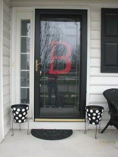 front door monogramFront Door Monogram and Polka Dot Flower Pot  A Little Tipsy