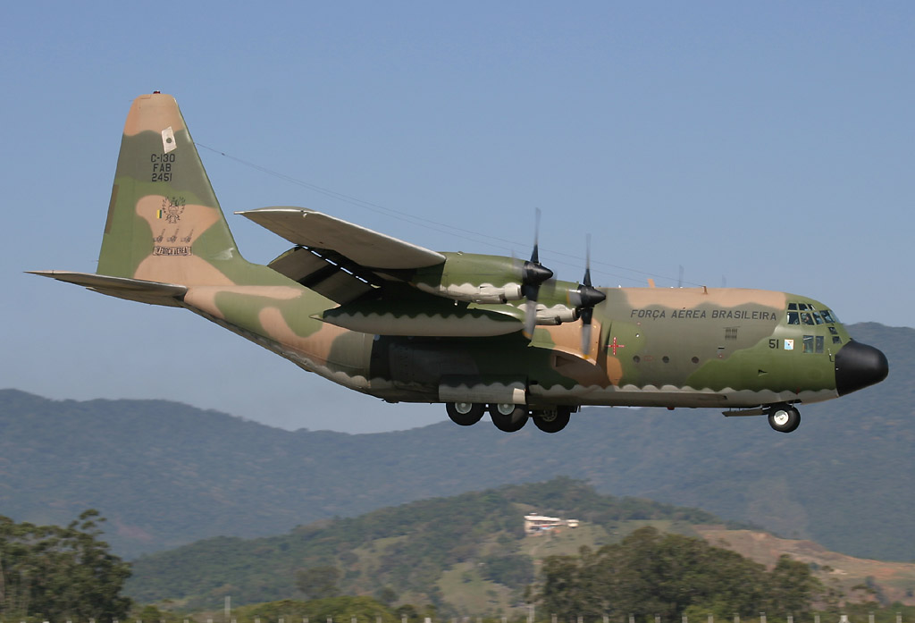 The Brazilian Air Force announced on Sunday, 08 January 2012, that it has deployed a Hercules C-150, like the one pictured, carrying a brigade of firefighters to assist Chile in fighting the more than 50 wildfires now ravaging the country