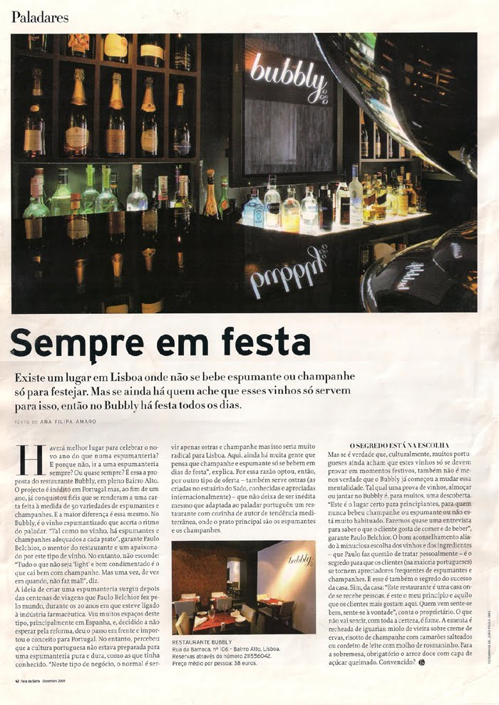 O Bubbly na Revista Fora de Série - Dezembro 2009 (Semanário Económico)
